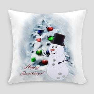Bowling Ball Snowman Everyday Pillow