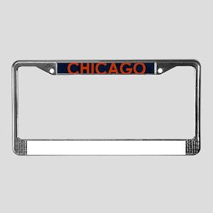 Chicago Orange Blue Stone License Plate Frame
