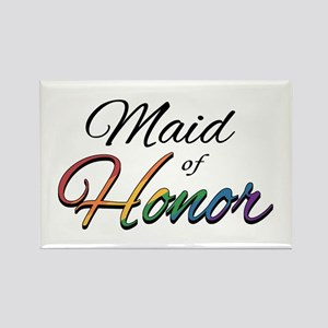 "Rainbow ""Maid of Honor"" Rectangle Magnet"