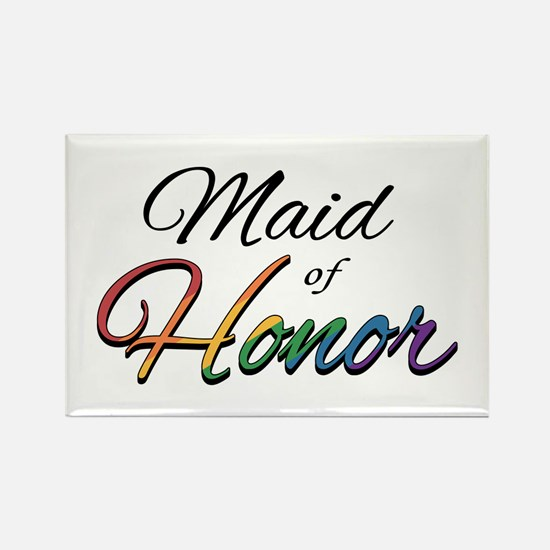 """Rainbow """"Maid of Honor"""" Rectangle Magnet"""