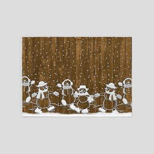 Snowmen On The Fence 5'x7'Area Rug
