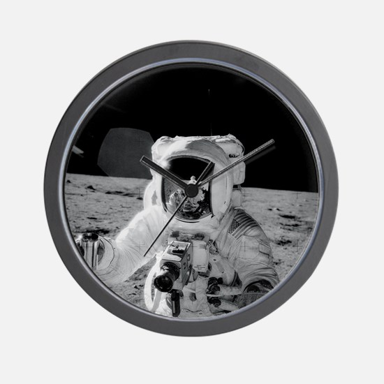 Apollo 12 Astronauts explore the Moon Wall Clock