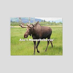 Ain't Moosebehavin' Alaskan Moose 5'x7'Area Rug