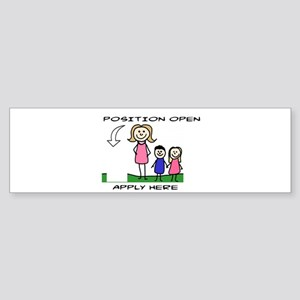 STICK FIGURE FAMILY - POSITION OPEN Bumper Sticker