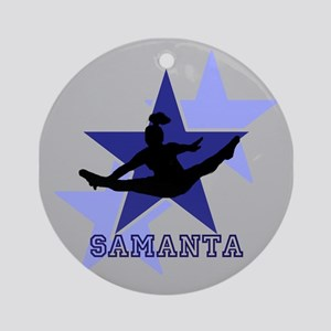 Gray And Blue Cheerleader Round Ornament