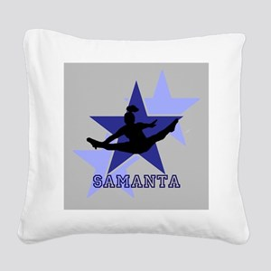 Gray and Blue Cheerleader Square Canvas Pillow
