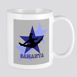Gray and Blue Cheerleader Mugs