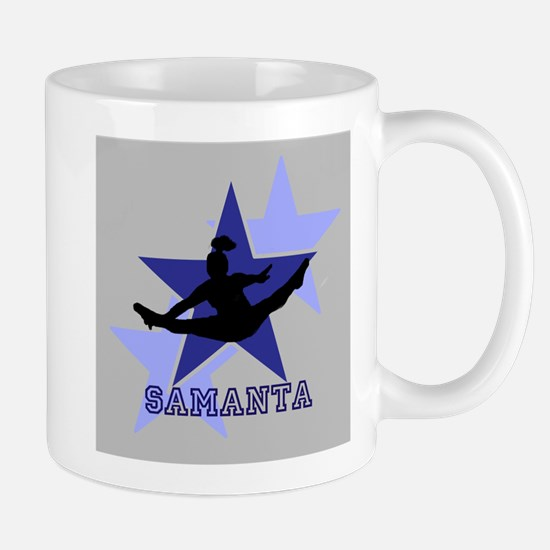 Gray and Blue Cheerleader Mugs