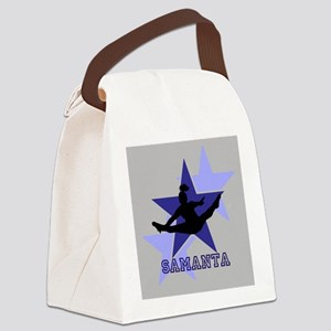 Gray and Blue Cheerleader Canvas Lunch Bag