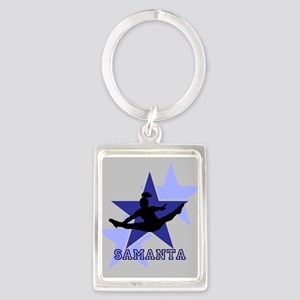 Gray and Blue Cheerleader Keychains
