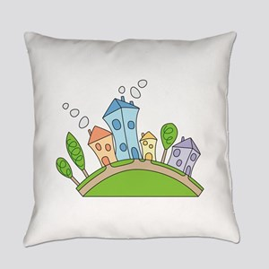 Cartoon Houses Everyday Pillow