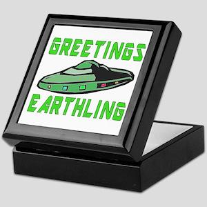 Greetings Earthling (Green Version) Keepsake Box
