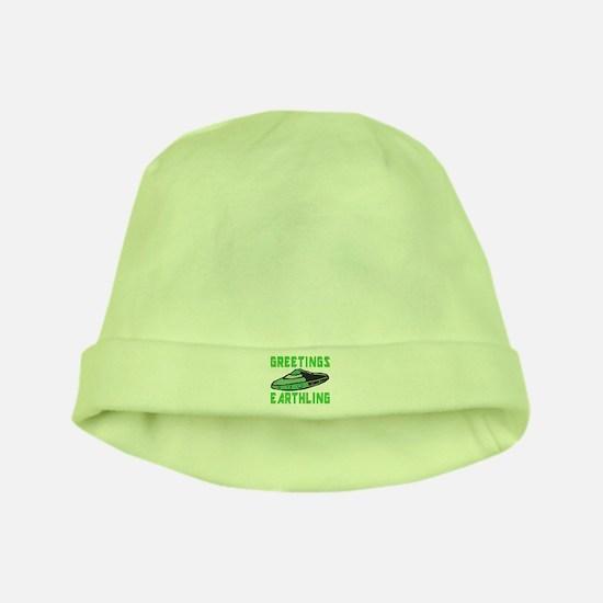 Greetings Earthling (Green Version) baby hat