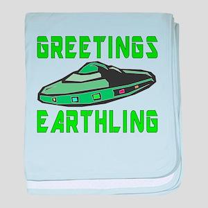 Greetings Earthling (Green Version) baby blanket