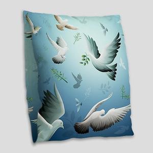 Beautiful Doves Burlap Throw Pillow