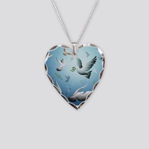 Beautiful Doves Necklace Heart Charm