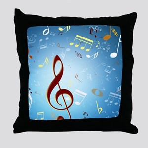 Musical Notes Throw Pillow