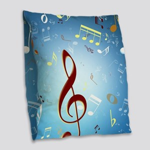 Musical Notes Burlap Throw Pillow
