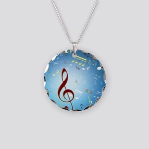 Musical Notes Necklace Circle Charm