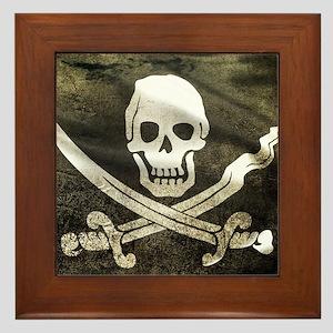 Pirate Flag Framed Tile