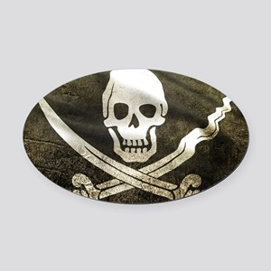 Pirate Flag Oval Car Magnet