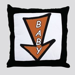 The word 'BABY' in arrow Throw Pillow