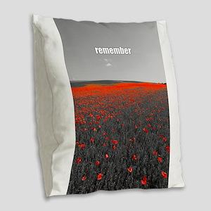Poppy Field - Remember Burlap Throw Pillow