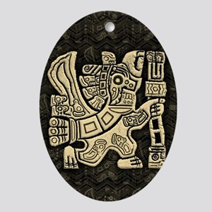 Aztec Eagle Warrior Oval Ornament