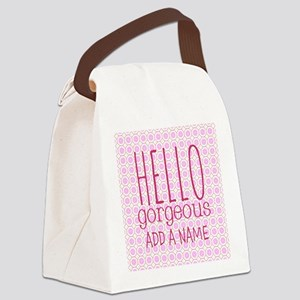 "Pink ""Hello Gorgeous"" Canvas Lunch Bag"