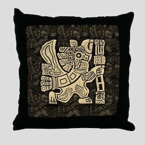 Aztec Eagle Warrior Throw Pillow