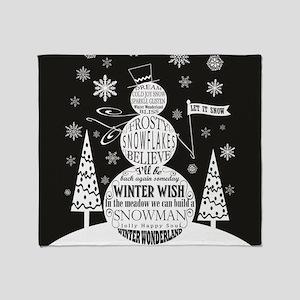 Modern vintage snowman chalkboard art Throw Blanke