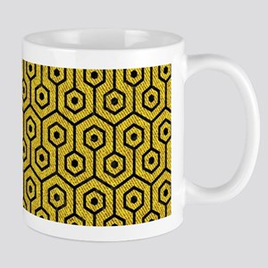 HEXAGON1 BLACK MARBLE & YELLOW D 11 oz Ceramic Mug