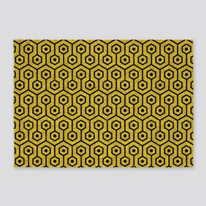 HEXAGON1 BLACK MARBLE & YELLOW DENI 5'x7'Area Rug