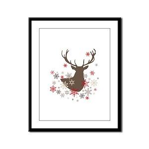 modern vintage rustic deer and snowflakes Framed P