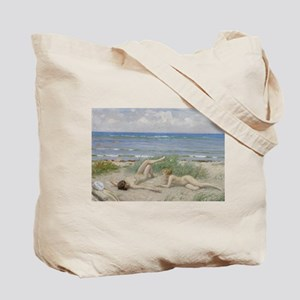 Girls on the Beach at Bastad Tote Bag