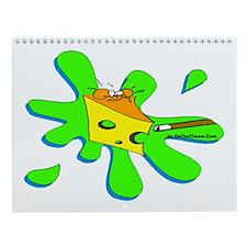 Funny Billiard Mouse Splat Cartoon Wall Calendar