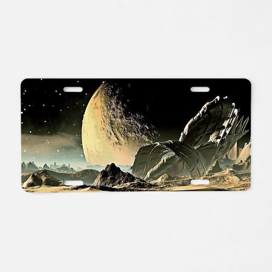 Alien Spaceship Aluminum License Plate
