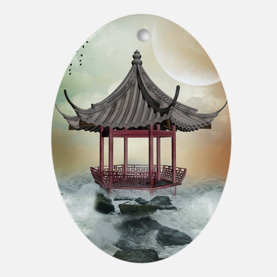 Oriental Gazebo Oval Ornament