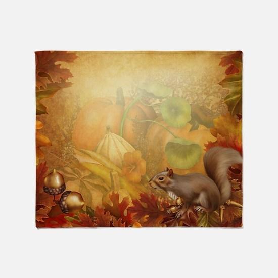 Thanksgiving Squirrel Throw Blanket
