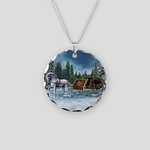 Christmas Sleigh Necklace Circle Charm