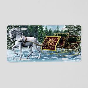 Christmas Sleigh Aluminum License Plate
