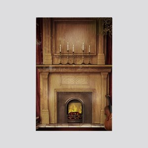 Classic Fireplace Rectangle Magnet