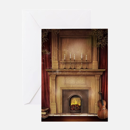 Classic Fireplace Greeting Card