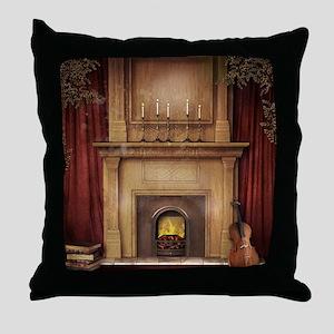 Classic Fireplace Throw Pillow