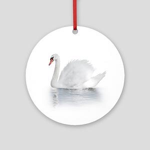 White Swan Round Ornament