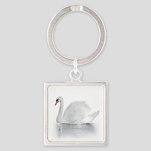 White Swan Square Keychain