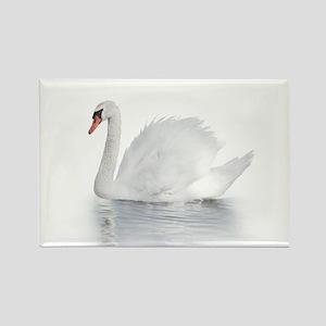White Swan Rectangle Magnet