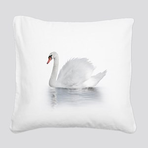 White Swan Square Canvas Pillow