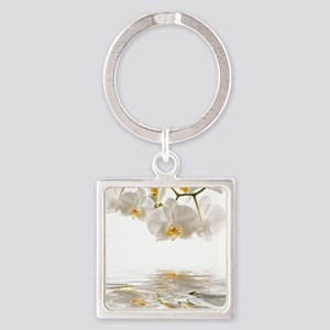 White Orchids Square Keychain