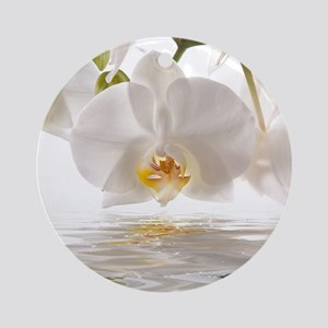 White Orchids Round Ornament